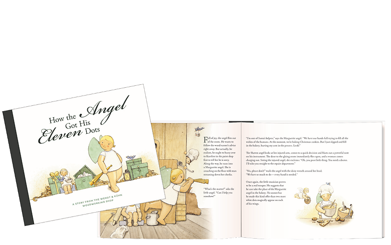 Boek 'How the Angel Got His Eleven Dots' (Hoe de engel aan de elf stippen kwam), Hardcover, 32 bladzijden, in kleur geïllustreerd, voor lezers van 5 tot 99 (in het Engels)